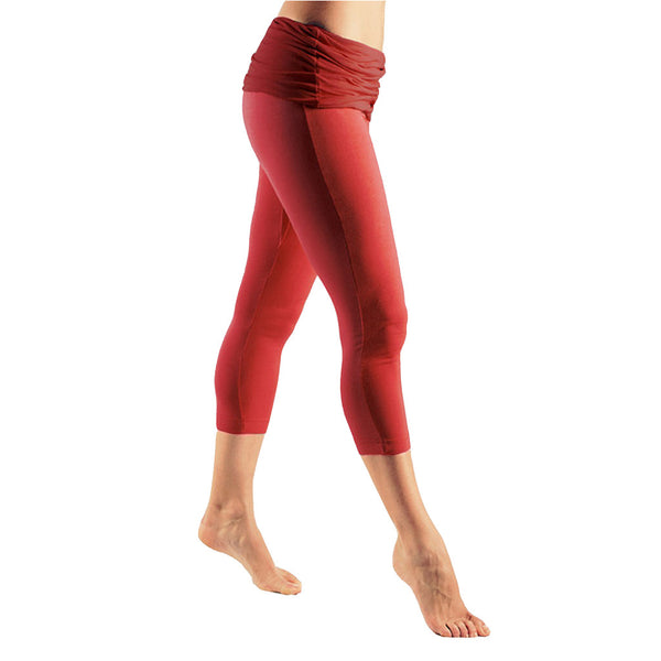 Bi Colour Fold Over Waist Capri Pants - Buy Yoga Clothing Made In The  UK | Gossypium