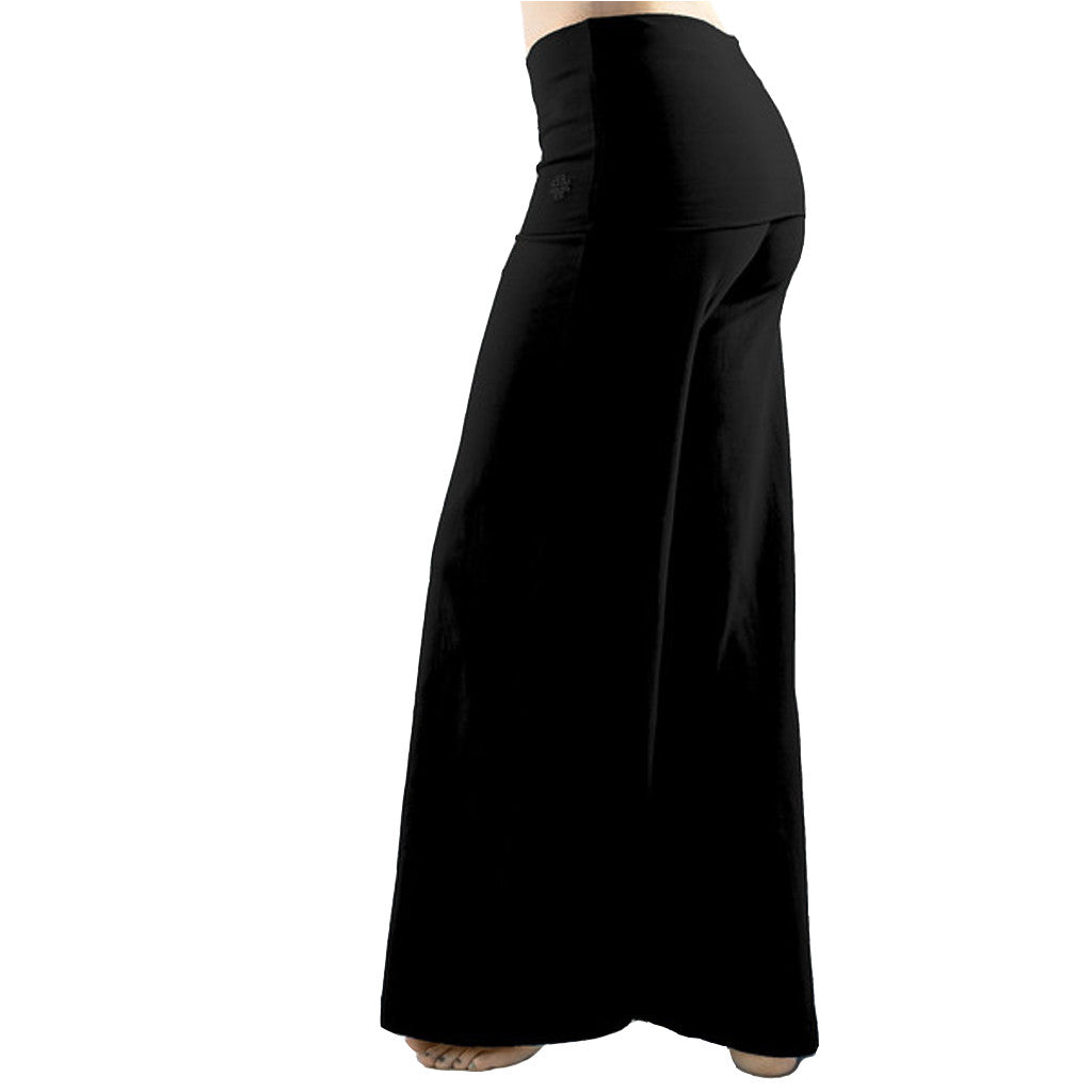 Wide Leg Fold Over Yoga Trousers - Gossypium