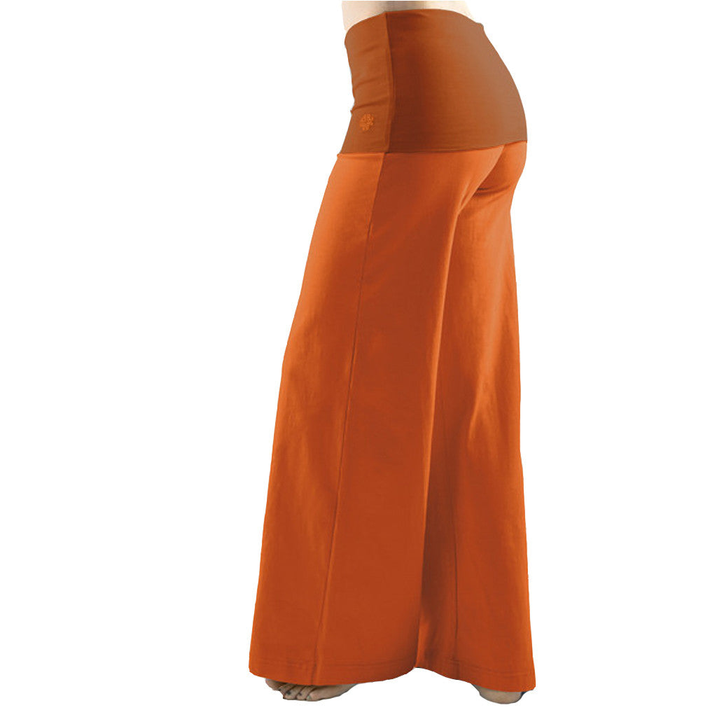 Bi Colour Wide Leg Fold Over Yoga Trousers - Gossypium