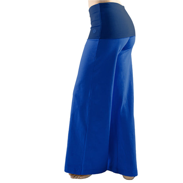 Bi Colour Wide Leg Fold Over Yoga Trousers