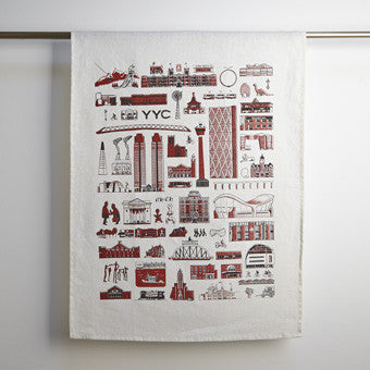 YYC Buildings Tea Towel