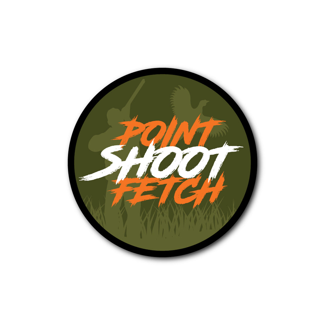 'POINT SHOOT FETCH' STICKER
