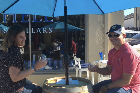 Couple Enjoying Sea Shell Cellars Wine Outside of the 13th Street Tasting Room during the COVID-19 Pandemic