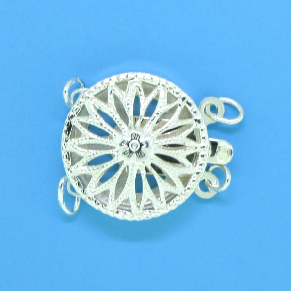 1366 - Sterling Silver Round Filigree Two Strand Clasp