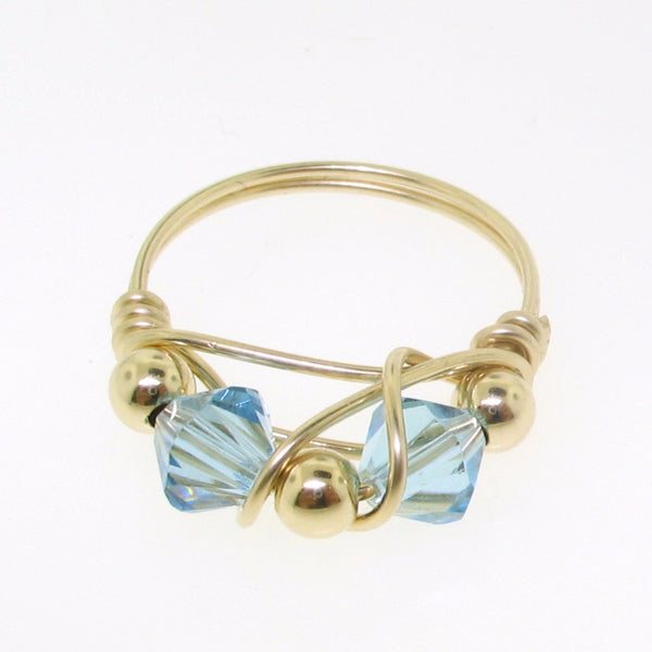 12103 - Gold Filled Ring With Swarovski Crystal - Aquamarine