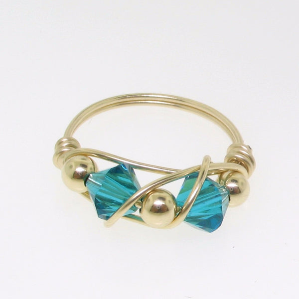12112 - Gold Filled Ring With Swarovski Crystal - Blue Zircon