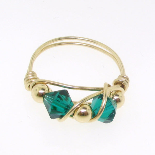 12105 - Gold Filled Ring With Swarovski Crystal - Emerald