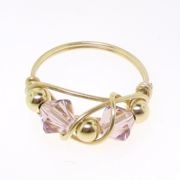 12106 - Gold Filled Ring With Swarovski Crystal - Light Amethyst