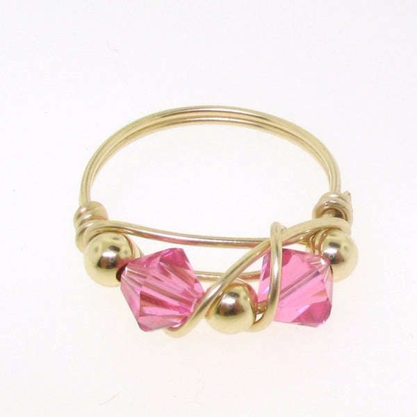 12110 - Gold Filled Ring With Swarovski Crystal - Rose