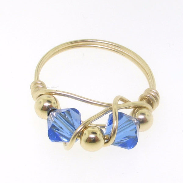 12109 - Gold Filled Ring With Swarovski Crystal - Sapphire