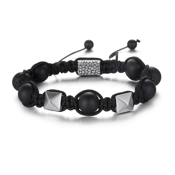 Men's Beaded Bracelet with Onyx, Stainless Steel