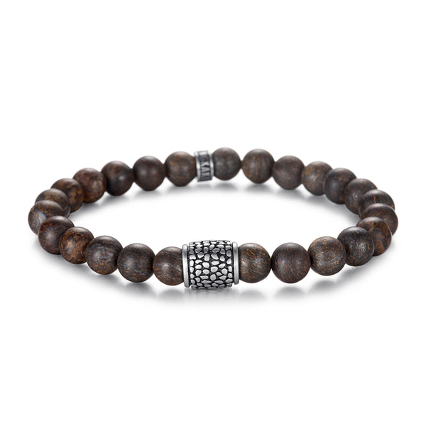 Men's Wristband with Bronzite, Reptile Element