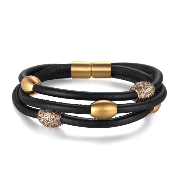 Women Warp-Around Bracelet Leather, Gold Stardust