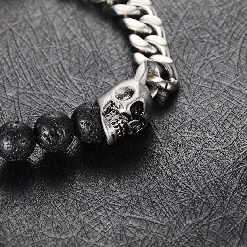 Beaded Bracelet with Lava, Skull, Curb Chain
