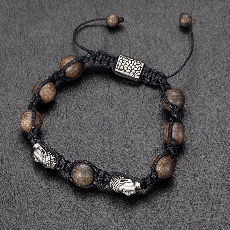 Beaded Bracelet with Bronzite, Skull, Rope