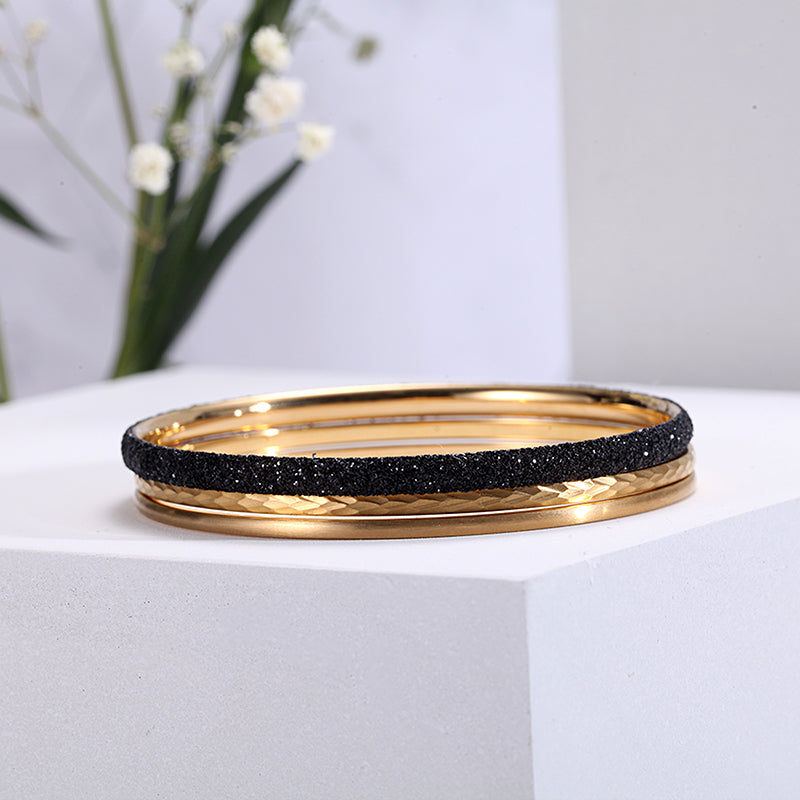 Women Stainless Steel Black Mineral Dust Stacking Bangles
