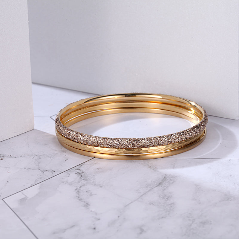 Women Stainless Steel Gold Mineral Dust Stacking Bangle