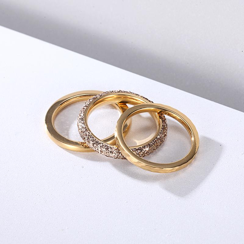 Women Stainless Steel Gold Mineral Dust Stacking Rings