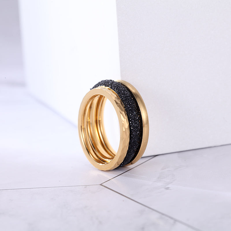 Women Stainless Steel Black Mineral Dust Stacking Rings