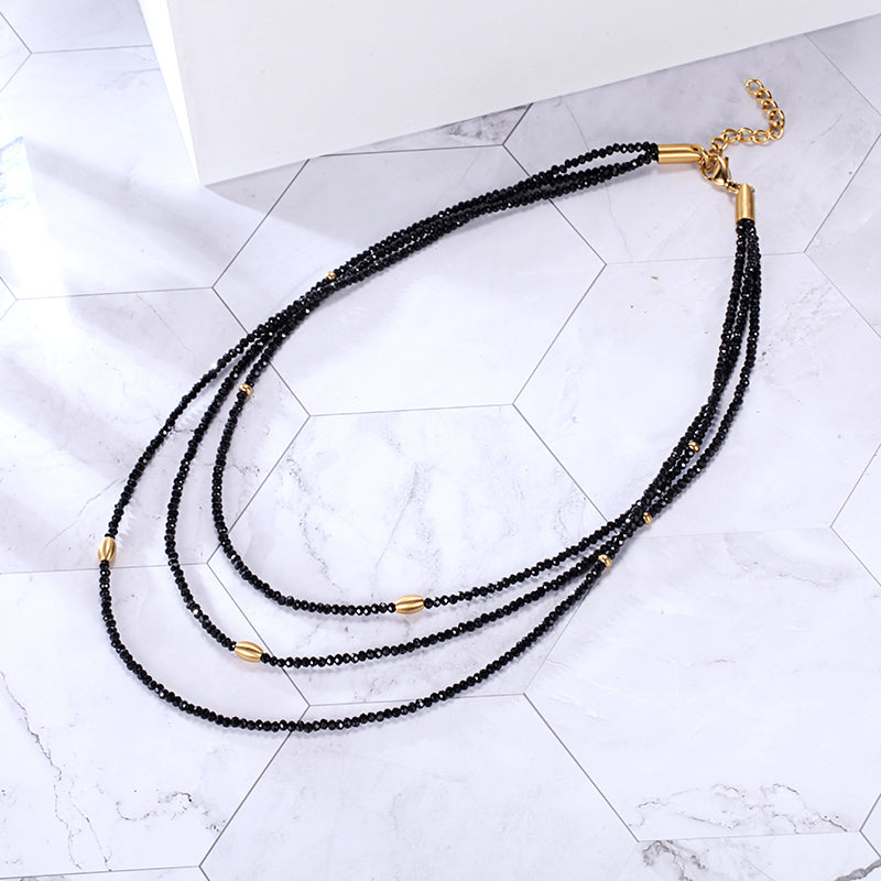 Women Crystal Beaded Stainless Steel Necklace