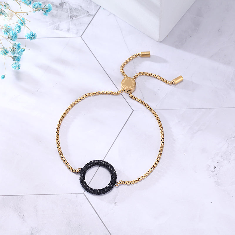 Women Stainless Steel Bracelet Black Glitter Dust Circle