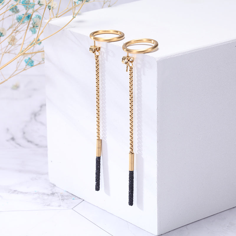 Women Stainless Steel Black Mineral Dust Earrings