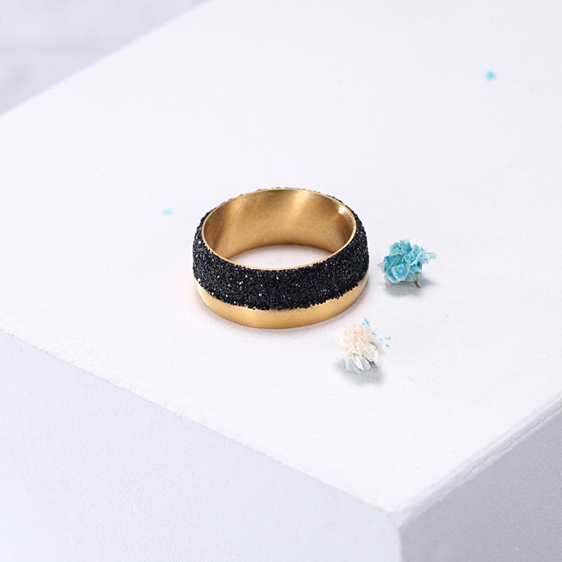 Women Stainless Steel Black Mineral Dust Ring