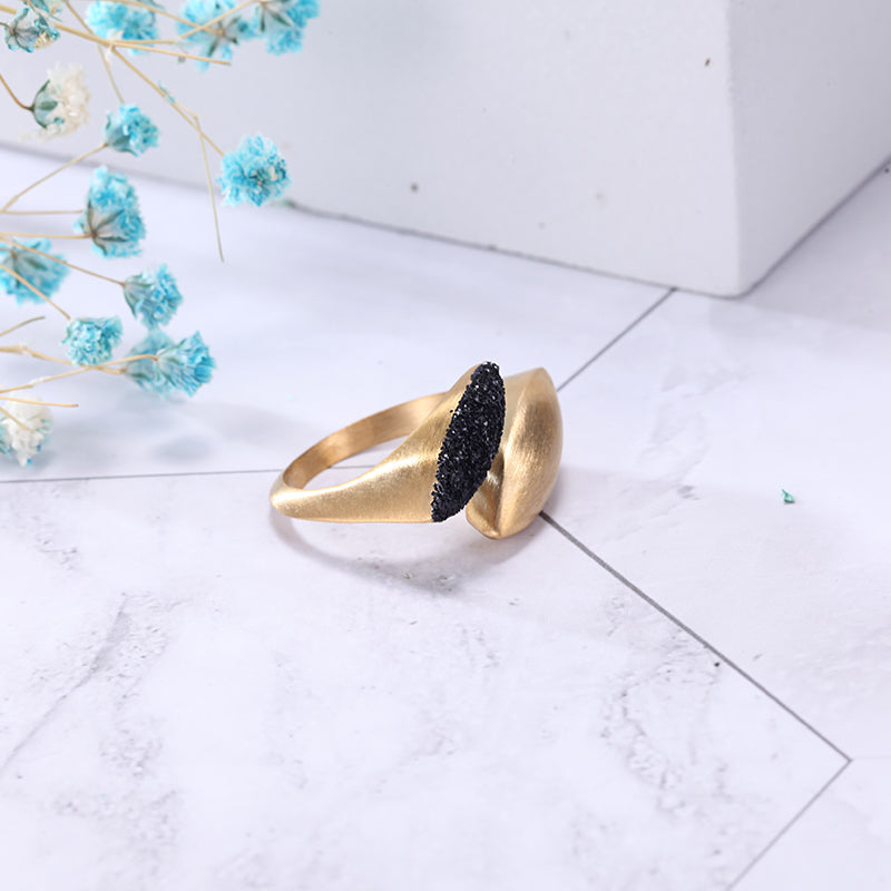Women Black Mineral Dust Stainless Steel Ring