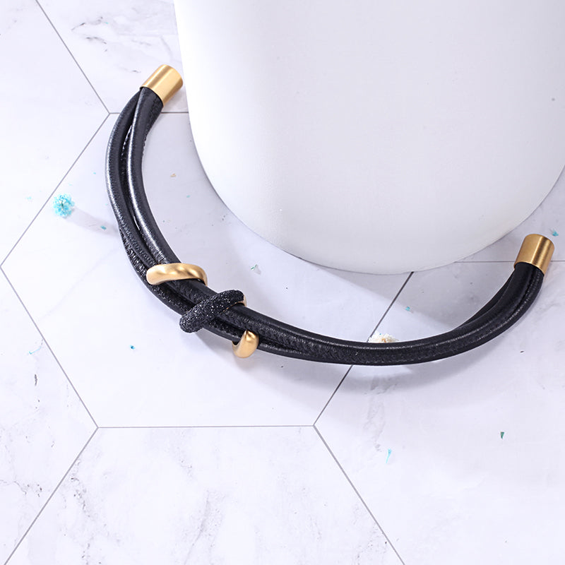 Women Leather Bracelet with Black Mineral Dust