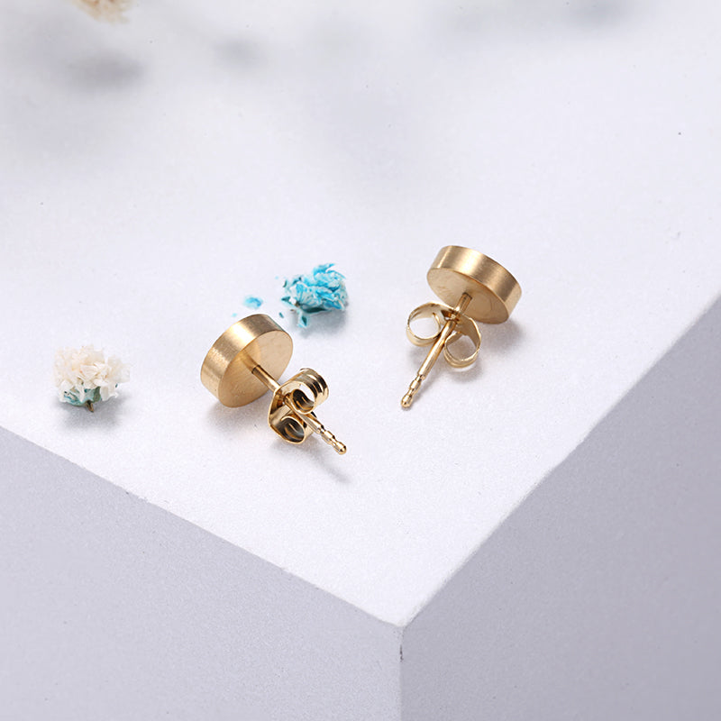 Women Stainless Steel Gold Mineral Dust Ear Studs