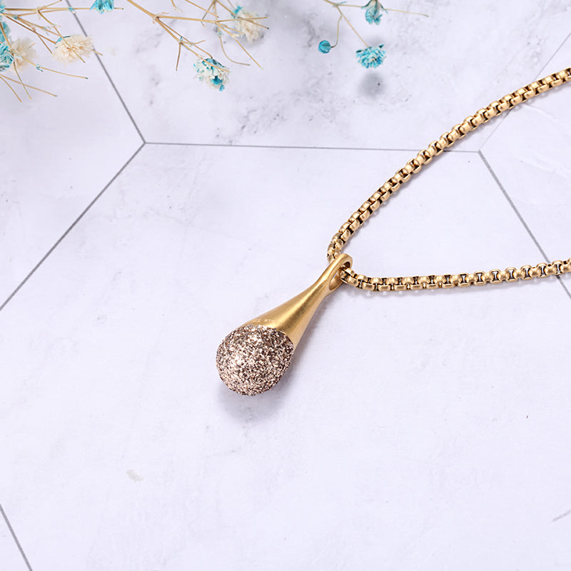 Women Stainless Steel Gold Mineral Dust Teardrop Necklace