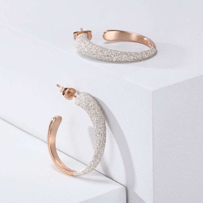 Women White Mineral Dust Hoop Earrings