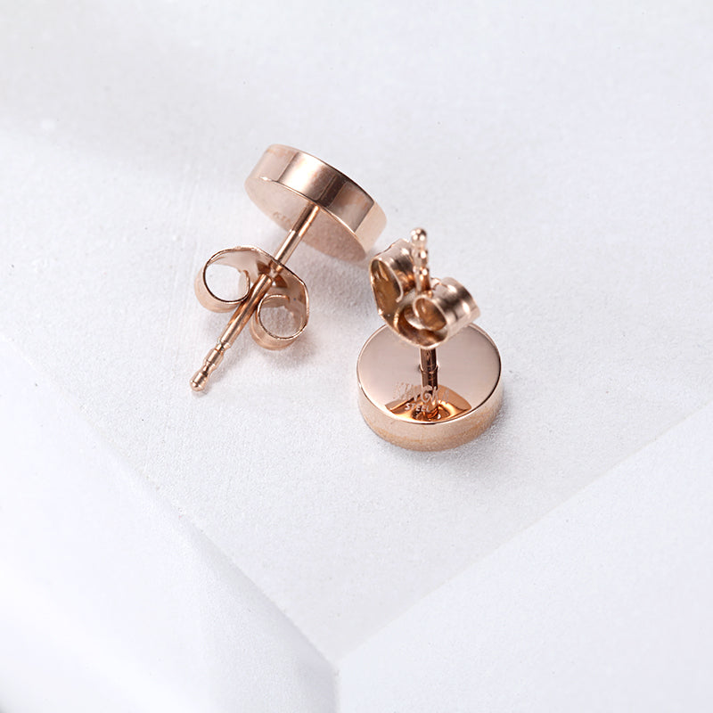 Women Stainless Steel White Mineral Dust Ear Studs