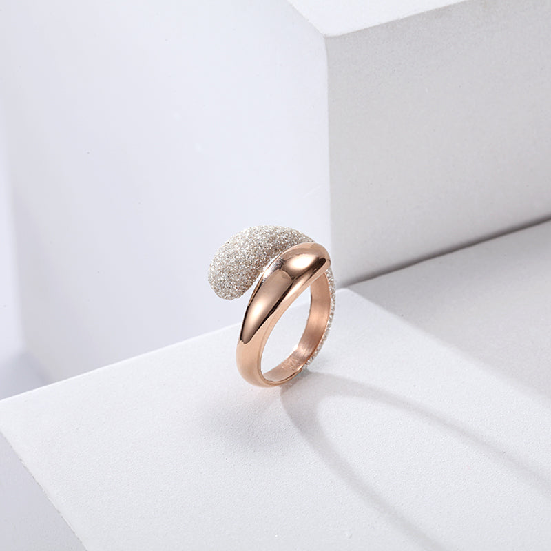 Women Stainless Steel White Mineral Dust Ring