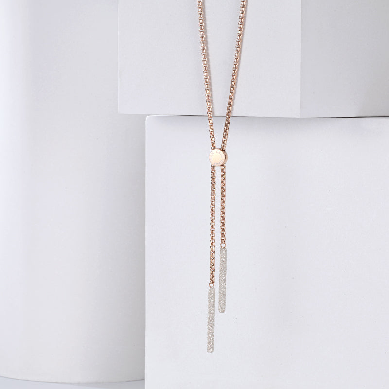 Women Stainless Steel Necklace with White Mineral Dust