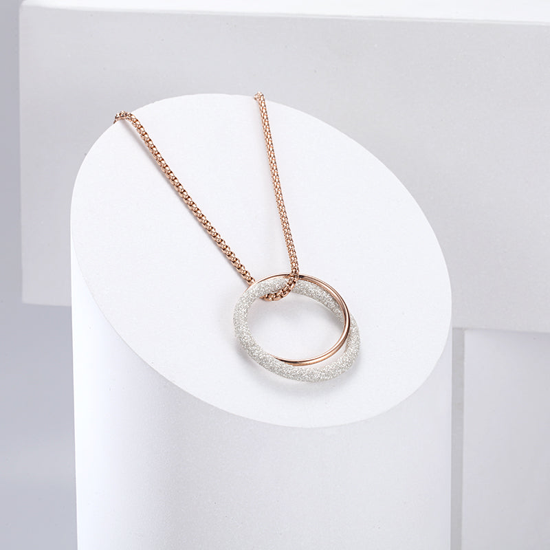 Women Stainless Steel White Mineral Dust Circle Necklace