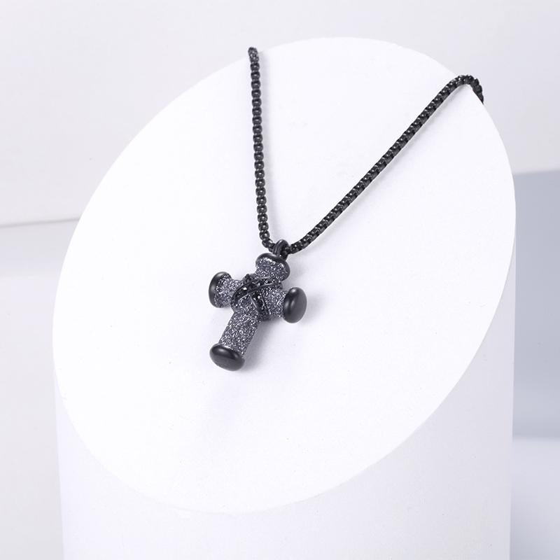 Stainless Steel Cross Necklace for Women with Mineral Dust