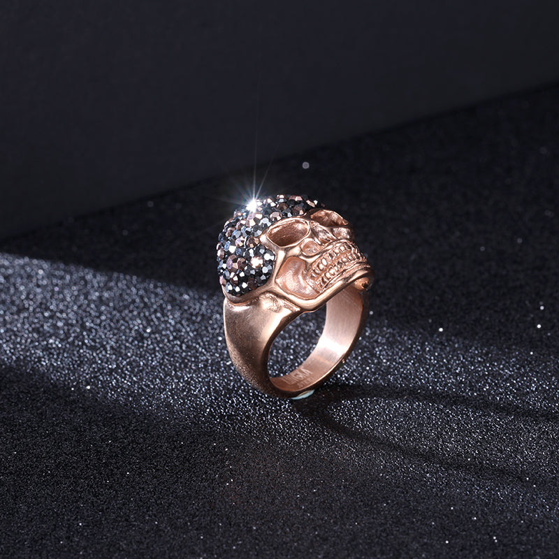 Women Ring with Stainless Steel Stone Skull