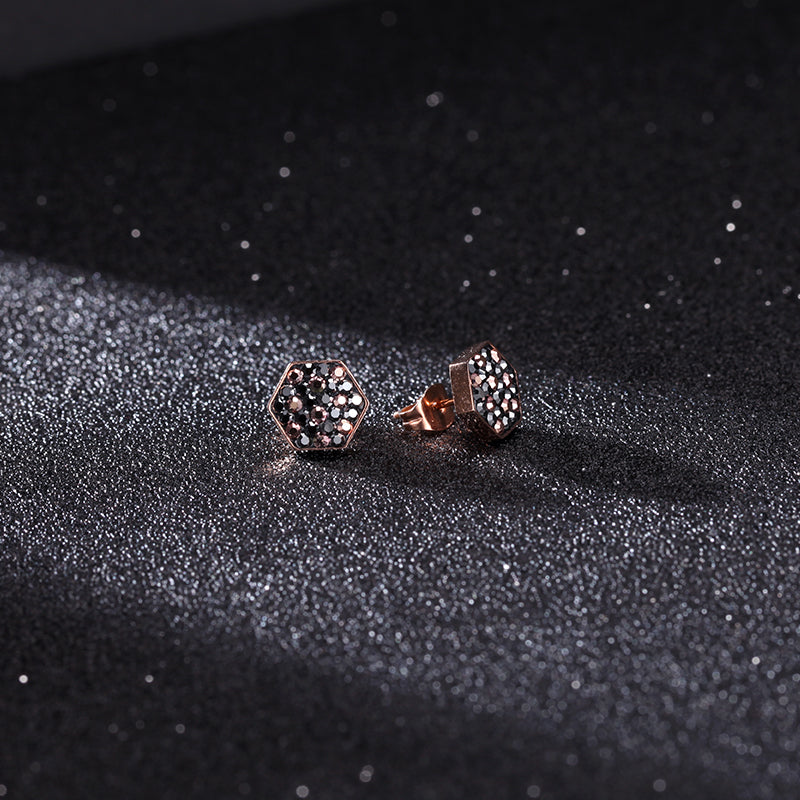 Women Stainless Steel Honey Comb Ear Studs