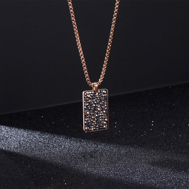 Women Necklace with Stainless Steel Stone Tag