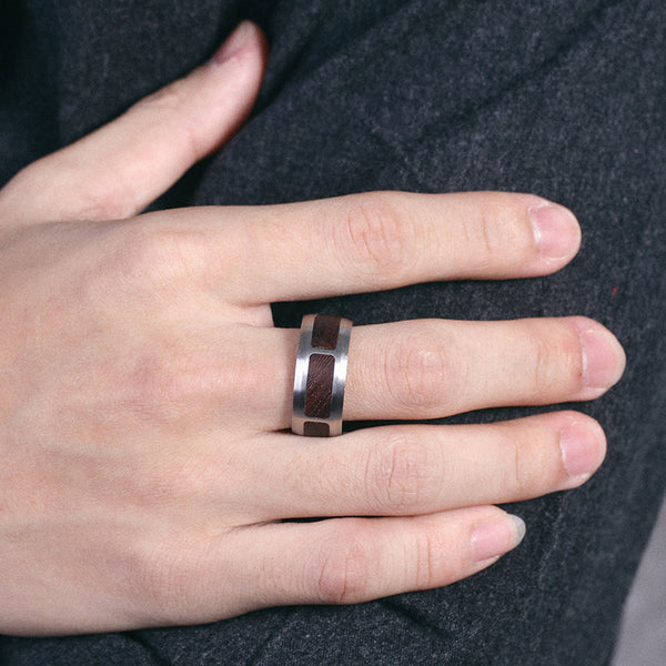 Mens Stainless Steel Ring Wood Inlay