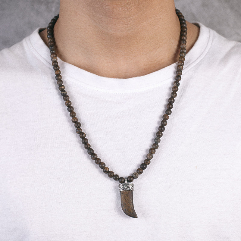 Mens Beaded Necklace with 925 Silver Wolf's Fang Pendant