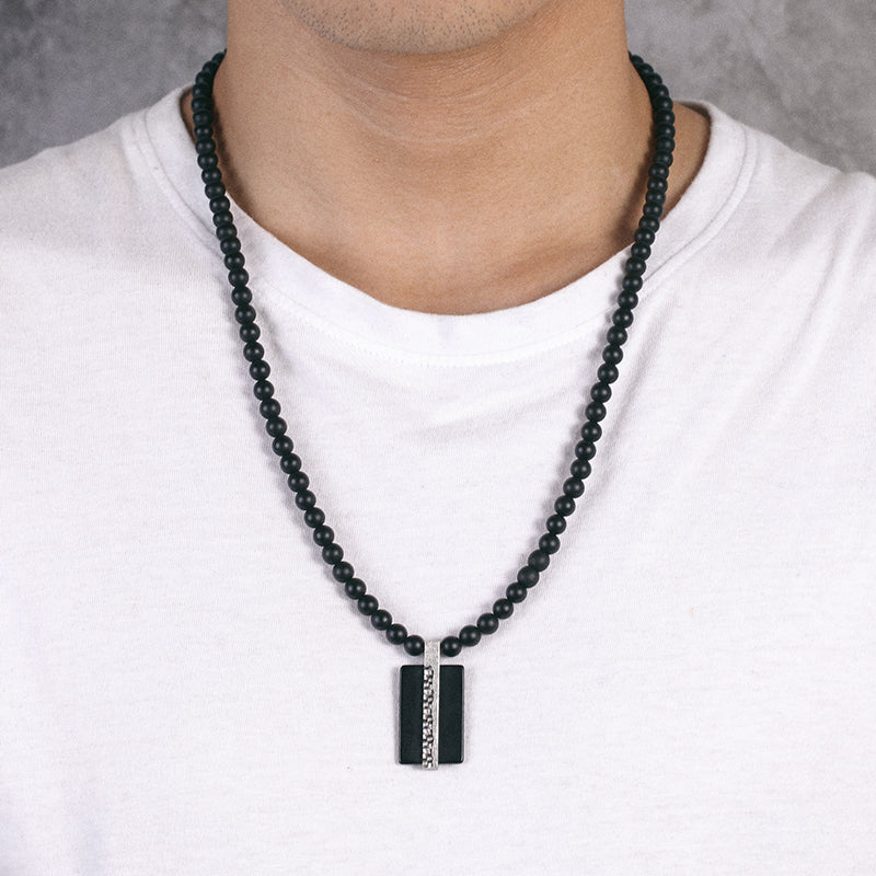 Mens Dog Tag Beaded Necklace