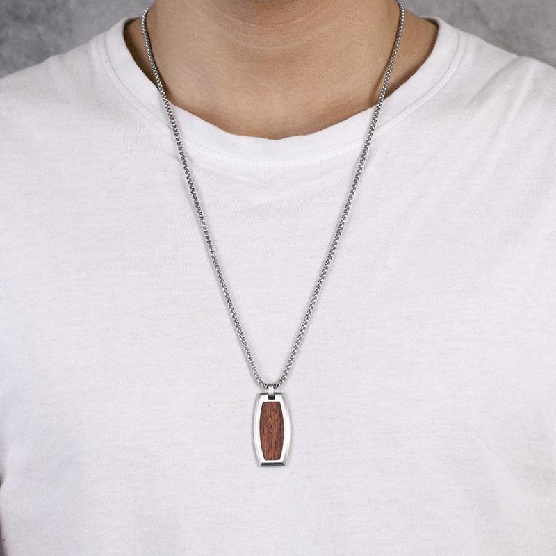 Stainless Steel Dog Tag Chain Wooden Necklace for Mens