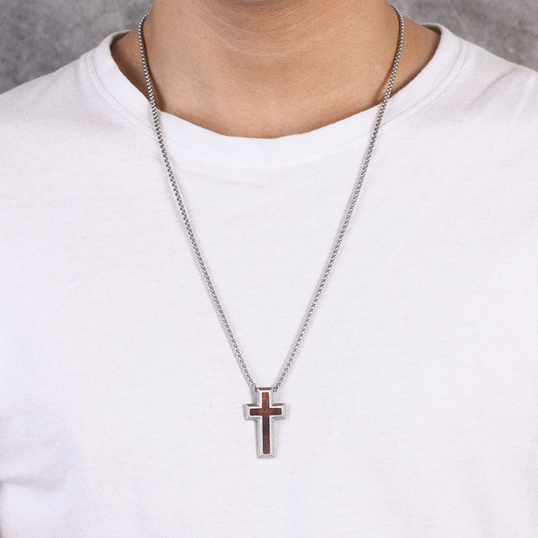 Mens Stainless Steel Wooden Cross Necklaces Chains