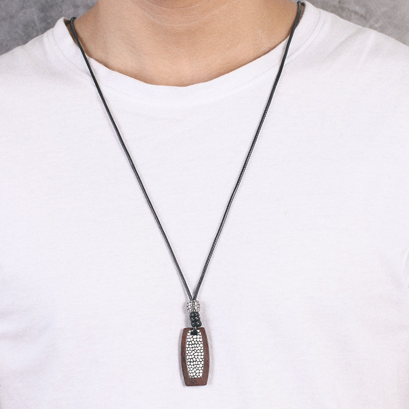 Mens Reptile Rope Necklace with Wood Pendant