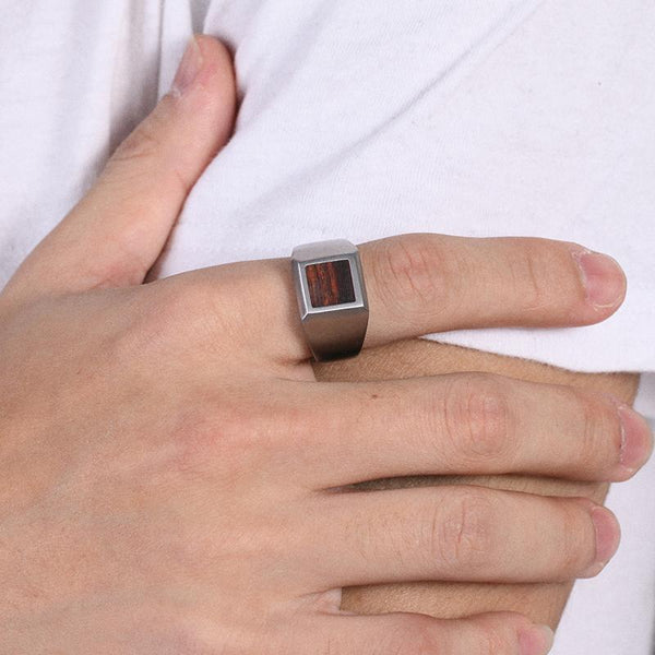 Mens Stainless Steel Ring Square Wood Inlay