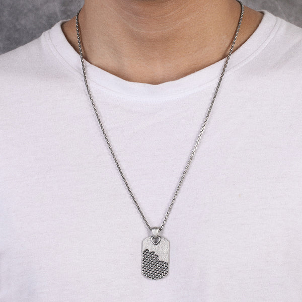 Dog Tag Necklace with Woven - KINGKA Jewelry