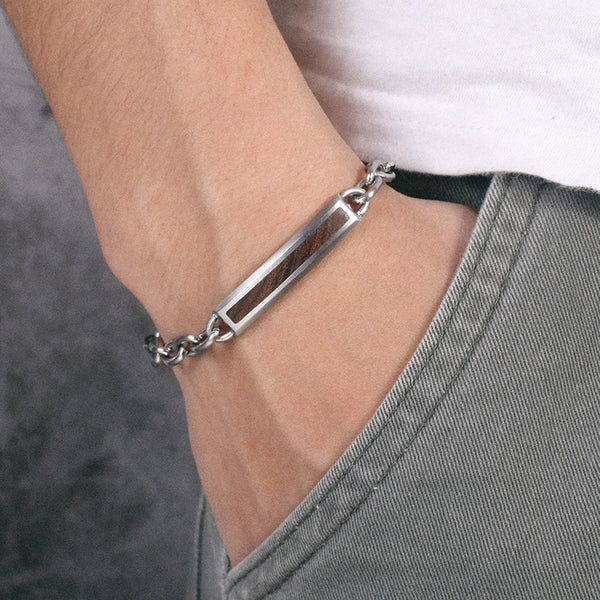 Mens Stainless Steel Chains Bracelet with Bend