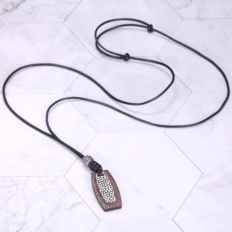Men's Wood Reptile Tag Rope Necklace - KINGKA Jewelry